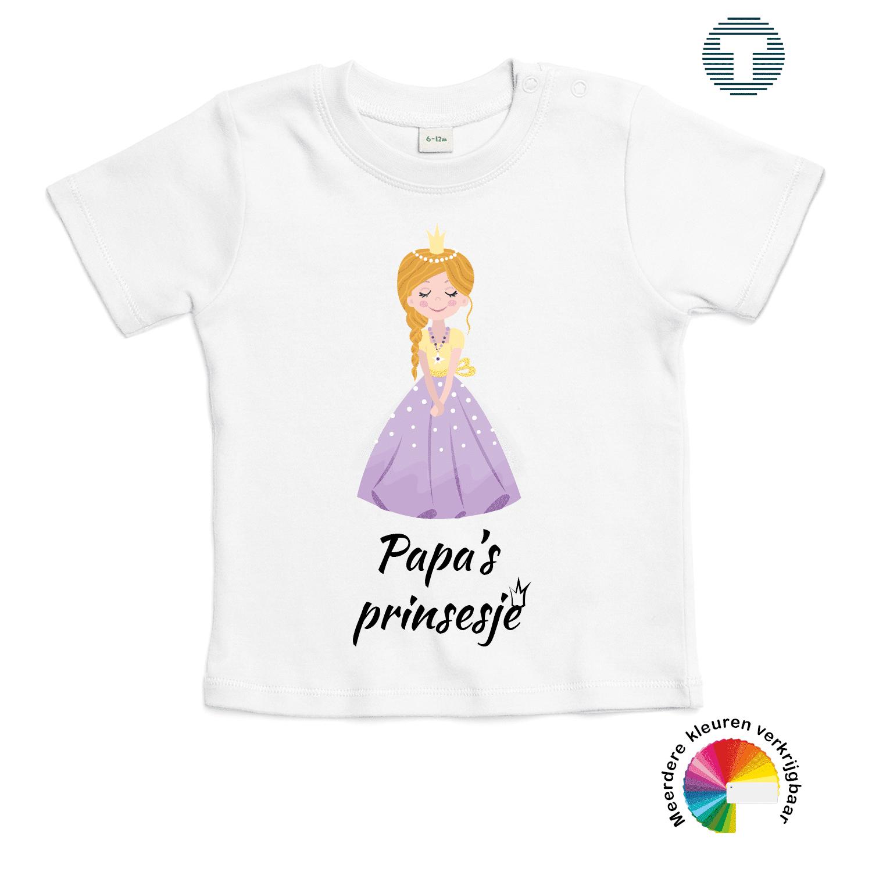 papa's prinsesje vaderdag baby t-shirt