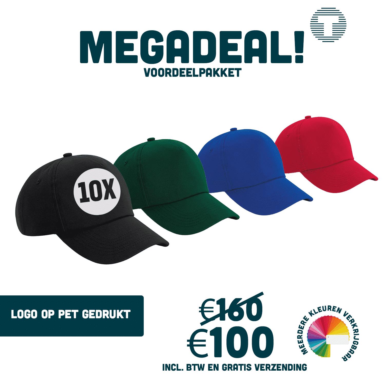 Megadeal: 10x bedrukte petten