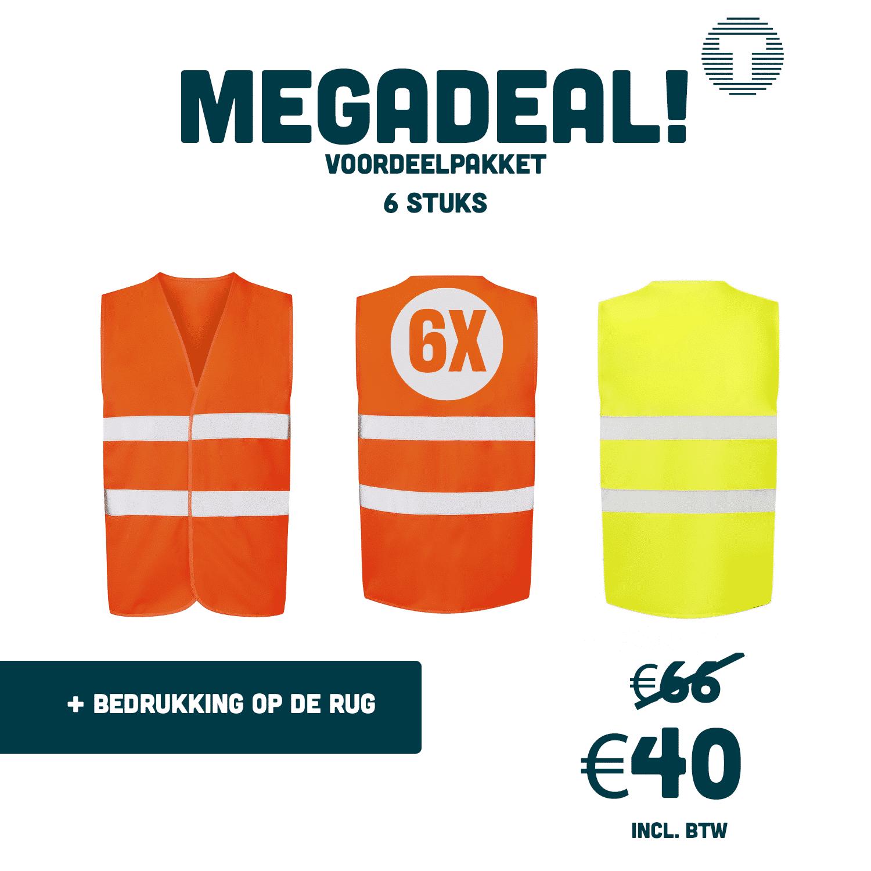 Megadeal: 6x veiligheidshesjes bedrukt met logo
