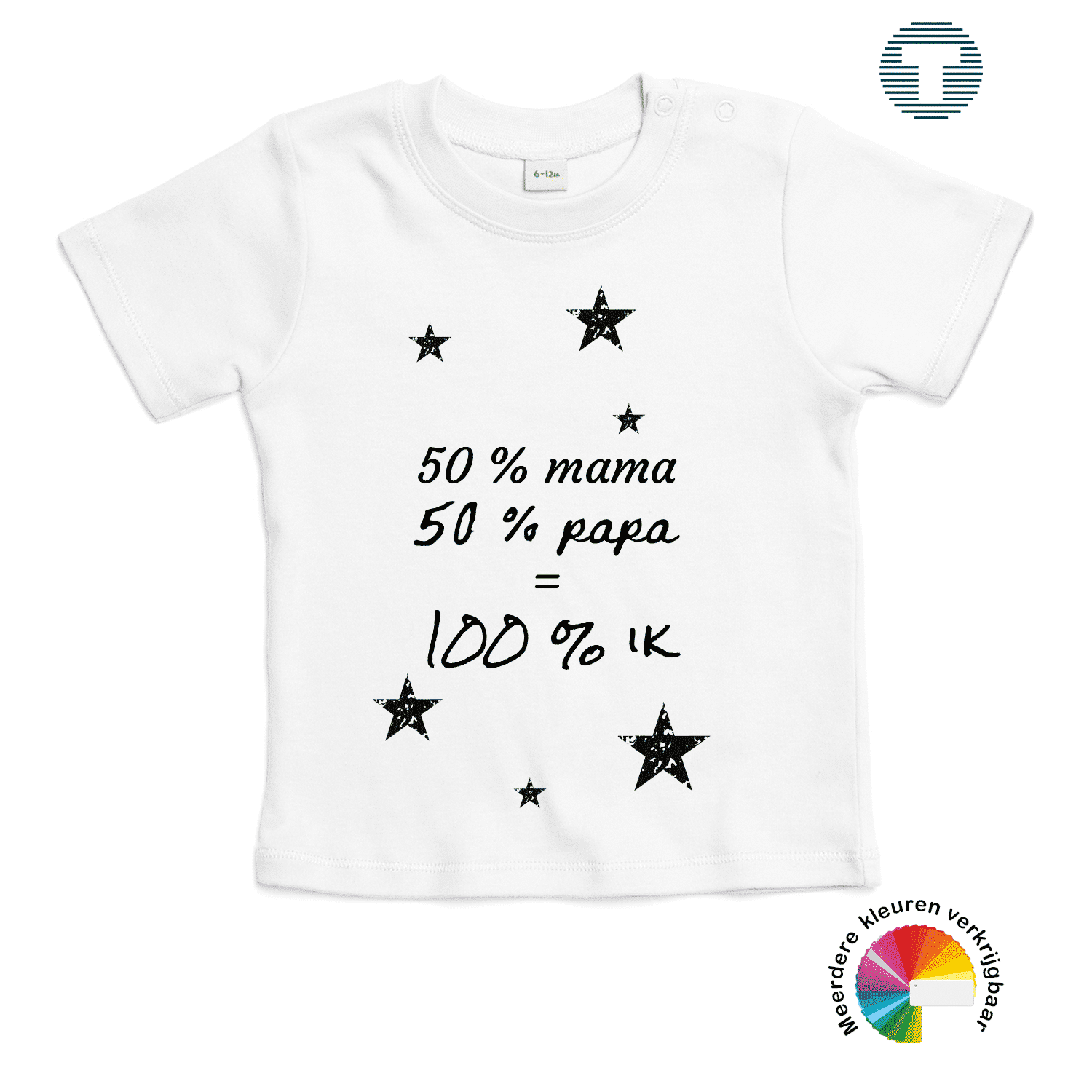 50% mama en 50% papa is 100% ik baby t-shirt